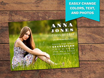 Basic Graduation Announcement Card Template - 5 x 7