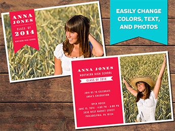 Bold Graduation Announcement Card Template - 5 x 7