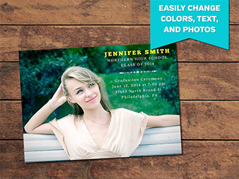 Classic Graduation Announcement Card Template - 5 x 7