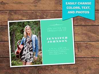 Clean Graduation Announcement Card Template - 5 x 7