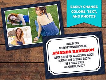 Collage Graduation Announcement Card Template - 5 x 7