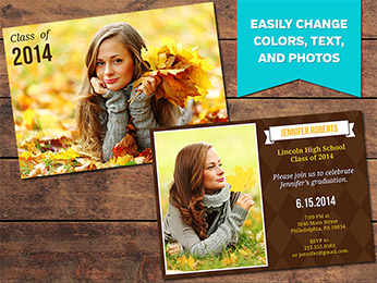 Earthy Graduation Announcement Card Template - 5 x 7