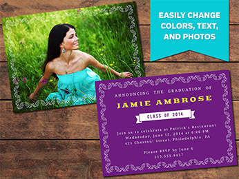Elegant Graduation Announcement Card Template - 5 x 7