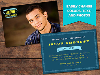 Grand Graduation Announcement Card Template - 5 x 7