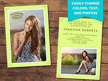 Green Graduation Announcement Card Template - 5 x 7