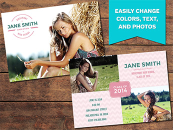Minty Graduation Announcement Card Template - 5 x 7
