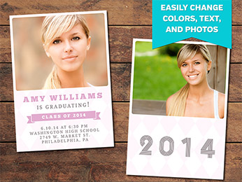 Pink Graduation Announcement Card Template - 5 x 7