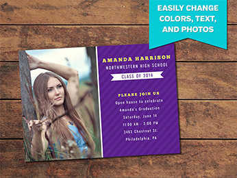 Royal Graduation Announcement Card Template - 5 x 7