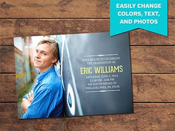 Simple Graduation Announcement Card Template - 5 x 7