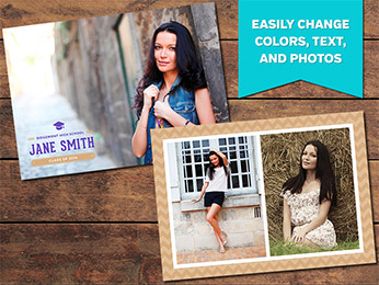 Stylish Graduation Announcement Card Template - 5 x 7