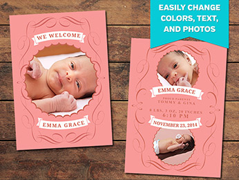 Charmed Birth Announcement Card Template