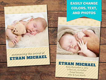 Cherish Birth Announcement Card Template