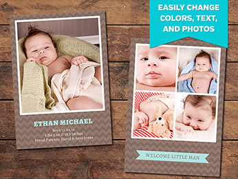 Chocolate Birth Announcement Card Template