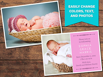 Clean Birth Announcement Card Template