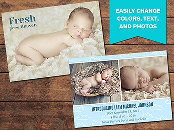 Cloudy Birth Announcement Card Template