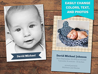Diamonds Birth Announcement Card Template