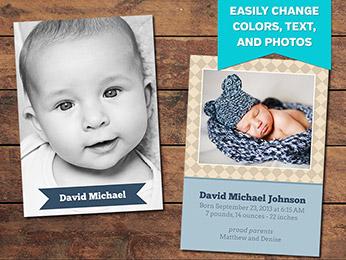 Diamonds Birth Announcement Card Template