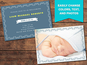 Elegant Birth Announcement Card Template