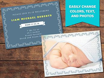 Elegant Birth Announcement Card Template