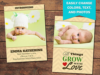 Gift Birth Announcement Card Template