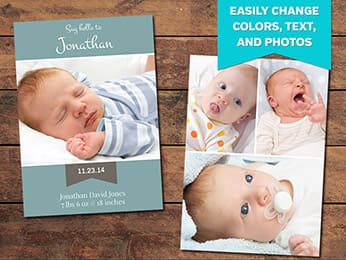 Hatch Birth Announcement Card Template