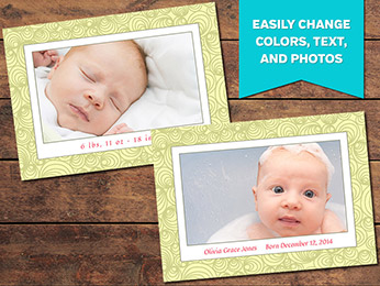 Joyful Birth Announcement Card Template