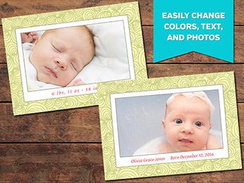 Joyful Birth Announcement Card Template