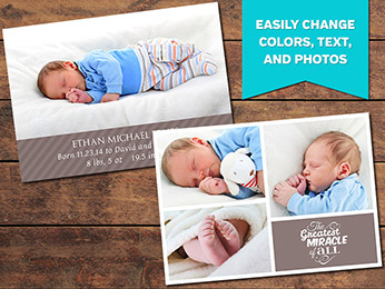 Miracle Birth Announcement Card Template