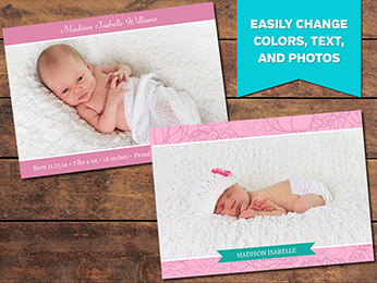 Pink Birth Announcement Card Templates