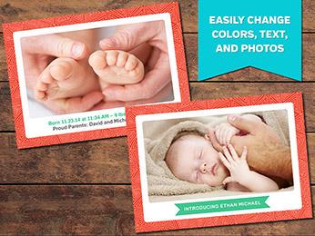 Precious Birth Announcement Card Template