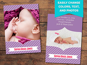 Purple Birth Announcement Card Template