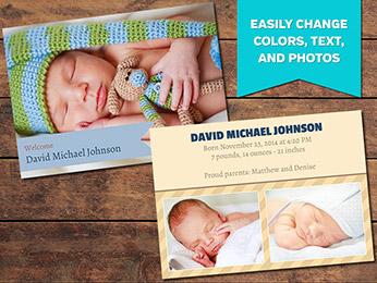 Ribbon Birth Announcement Card Template