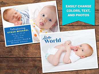 Simple Birth Announcement Card Template