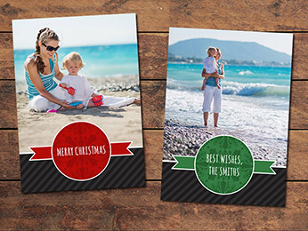 Striped Christmas Card Template