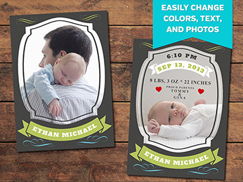 Treasure Birth Announcement Card Template