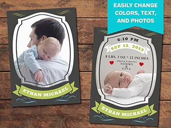 Treasure Birth Announcement Card Template