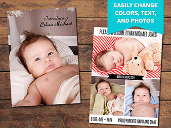 Vertical Birth Announcement Card Template